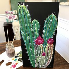 A personal favorite from my Etsy shop https://www.etsy.com/listing/515993683/prickly-plant-painting-10x20 #artprojects
