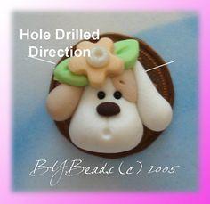 SALE Puppy Polymer Clay Charm Bead Scrapbooking by rainbowdayhappy, $1.50