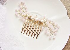 Pink Bridal Hair Comb in Gold Beaded Crystal by DesignedByTanne