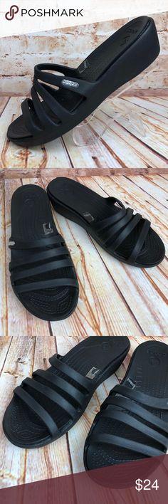 cc21ae94034 CROCS Rhonda Women s 8 Black Wedges Slides Sandals CROCS Rhonda Women s 8  Black Wedges Slides Sandals