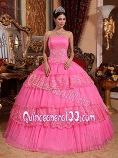 Pink Strapless Tiered Lace Decorate Appliques Sweet Sixteen Dresses