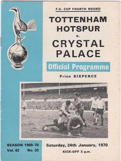 Vintage Football (soccer) Programme - Tottenham Hotspur v Crystal Palace, FA Cup, 1969/70 season #football #soccer #tottenham #spurs #crystalpalace #1970s