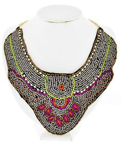 Gold Tone / Multi Color Acrylic Seed Beads / Lead Compliant / Necklace
