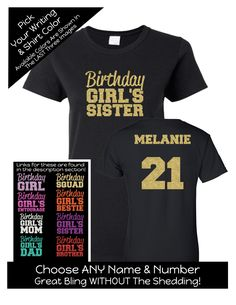 Impact Birthday Squad Shirt Bold - Personalize the Name, Age and Colors - Birthday Party Matching Shirts by MagicalMemoriesbyJ on Etsy Birthday Squad Shirts, Family Birthday Shirts, Family Birthdays, Sister Birthday, 21st Birthday, Mom And Sister, Matching Shirts, Types Of Shirts, Colorful Shirts