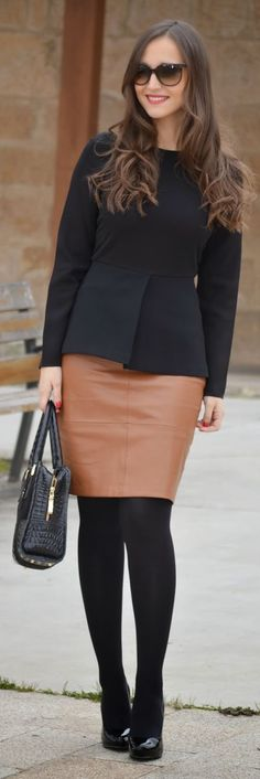 LOVE THIS ENTIRE OUTFIT AND THE CAMEL LEATHER SKIRT IS THE PERFECT TOUCH!!! <3 :-)