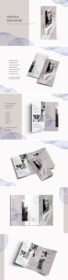 Trifold fashion brochure by AgataCreate on @creativemarket Printing brochure template with one of the best creative design and great cover, perfect for modern corporate appearance for business companies. This layout is modern, simple and feminine; have a good inspiration or grab some ideas.