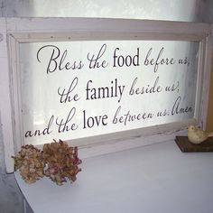 bless the food vintage window - saw you pinned this same saying - also like this one on a window - would be lovely hanging or leaning against the window beside the table where the light can come through Vinyl Crafts, Vinyl Projects, Projects To Try, Antique Windows, Vintage Windows, Old Window Frames, Window Panes, Window Signs, Window Ideas