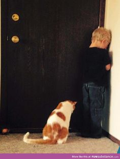 Kid was put into time out. The cat decided to join him