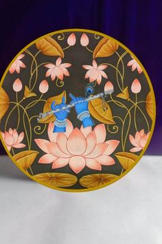 Canvas Painting Designs, Glass Painting Patterns, Diy Canvas Art, Fabric Painting, Lotus Painting, Pichwai Paintings, Indian Art Paintings, Kerala Mural Painting, Madhubani Painting