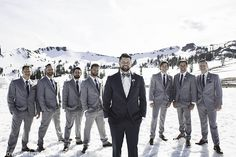 Squaw Valley Lake Tahoe Wedding with the Groom in a Charcoal Grey Suit and Groomsmen in Heather Grey Suits, Bohemian Wedding Dresses, Wedding Bridesmaid Dresses, Wedding Suits, Trendy Wedding, Rustic Wedding, Wedding Ideas, Gray Groomsmen Suits, Groom And Groomsmen, Gray Suits
