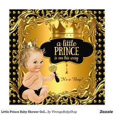 Little Prince Baby Shower Gold Rattle Blonde Baby Invitation
