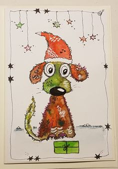 Happy painting, christmasdog Happy Paintings, Snoopy, Fictional Characters, Homemade, Cards, Fantasy Characters