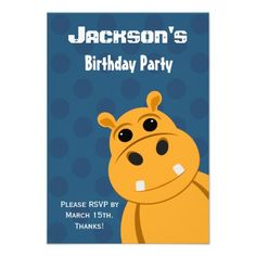 Orange Hippo Blue Polka Dots Birthday RSVP Invitations