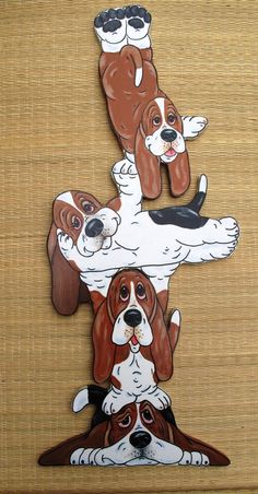 Items similar to Basset Hound Totum Pole Wall Art on Etsy Basset Hound Funny, Basset Puppies, Dogs And Puppies, Diy Dog Gate, Tole Decorative Paintings, Cute Cartoon Pictures, Dog Quilts, Silly Dogs, Pintura Country