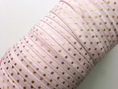 $4.15 Etsy 5/8 Inch FOE Pearl Pink (comes in white) Gold Polka Dotted Fold Over by PeakBloom