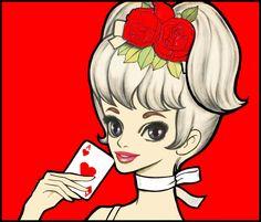Rune Naito-Ace of hearts Ace Of Hearts, Japan Illustration, Japanese Cartoon, Retro Ads, Old Master, Big Eyes, Anime Style, Vintage Japanese, Runes