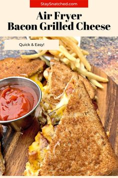 The best grilled cheese sandwich is made in the air fryer! You can make any toasted sandwich and load it up with your favorite toppings like bacon, ham, mayo, and tomato. Fried Bacon Recipes, Air Fry Recipes, Oven Recipes, Recipies, Lunch Recipes, Dinner Recipes, Grilled Ham And Cheese, Tacos And Burritos, Air Fryer Healthy