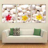 Pf3127 impresso 3 peças de pintura a óleo sobre tela de arte para decoração de casa flores e folhas em branco de pedra