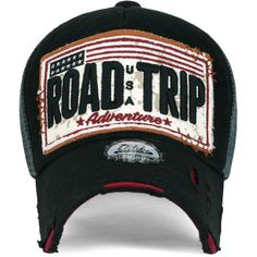 ililily ROAD TRIP Vintage Distressed Snapback Trucker Hat Baseball Cap ($14) ❤ liked on Polyvore featuring accessories, hats, distressed baseball cap, truck caps, trucker hats, baseball hats and ball cap