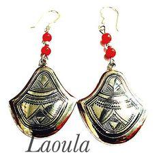 Boucles d'oreilles argent et agate, bijoux ethnique 267626