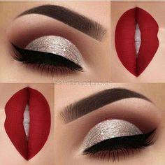 eye makeup for red lips eyeshadows - eye makeup for red lips ; eye makeup for red lipstick ; eye makeup for red lips tutorial ; eye makeup for red lips eyeshadows Red Dress Makeup, Red Eye Makeup, New Year's Makeup, Makeup For Brown Eyes, Glam Makeup, Dress Red, Makeup Cosmetics, Makeup To Go With Red Dress, Natural Makeup