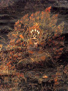 Tibetan black ground thangka of the dharmapala Begtse