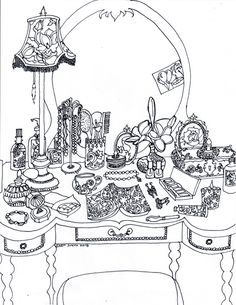 Page drafts for an adult coloring book