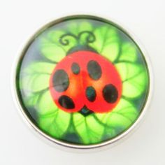 Ladybug Glass Button Bead Noosa Snap On Charm Chunk 20mm – Your Charmed Story