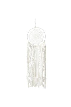 Fill that empty space on your wall with this hand made dream catcher! <br> Has a crochet centre piece and a multitude of hanging trims. <br> Dimensions: 20cmW x 70cmL <br/>