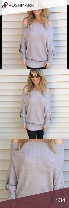 Misty Lavender off shoulder top This off the shoulder top features a waffle texture and long sleeves. Fits true to size with some stretch.   -65% Polyester  -35% Rayon  -Wearing size small Tops Tunics