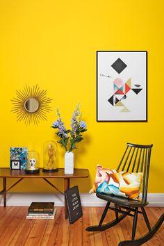 Westwing-Bunt wohnen-Wand gelb