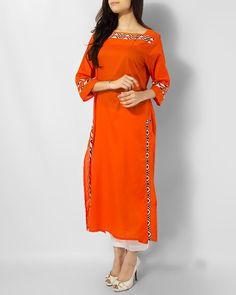 Alkaram Studio Orange Cotton Basic Kurta