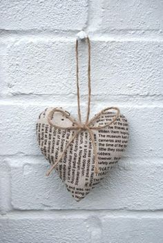 I could paste poem verses onto a metal heart with pva. I Love Heart, Happy Heart, My Heart, Small Heart, Valentine Decorations, Valentine Crafts, Be My Valentine, Book Page Crafts, Fabric Hearts