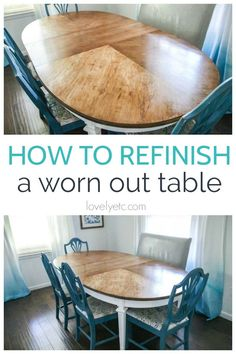 How to refinish a worn out dining room table - Lovely Etc. : How to refinish a table with a worn out top. How to strip furniture and refinish it to bring the beauty of the wood back to life. Refinish Dining Tables, Refinishing Kitchen Tables, Refinished Table, Dining Room Table, A Table, Vintage Home Decor, Diy Home Decor, Stripping Furniture, Kitchen Table Makeover