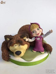 . Masha Cake, Masha And The Bear, Torte Cake, Baby Birthday Cakes, Modeling Chocolate, Bear Cakes, Sugar Art, Cake Art, Cake Toppers