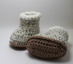 Fur Trimmed Ugg Boot Booties 06 months and 612 by KnittyMomma, $18.00