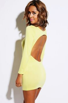 Trendy Cute sunny yellow backless fitted long sleeve clubbing mini dress fo cheap | Affordable Clothing | 1015 store
