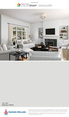I found this color with ColorSnap® Visualizer for iPhone by Sherwin-Williams: Nebulous White (SW 7063).