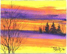 EVENING SUN landscape painting  Jim Smeltz by jimsmeltzgallery, $20.00
