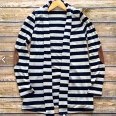 Black and white strip cardigan-2- Super chic, size L in this listing. Size s/m/l available. Elbow patch attached. Stretchable. Nwot Sweaters Cardigans