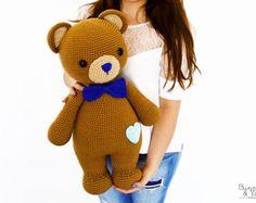 CROCHET PATTERN - Billy the Friendly Bear - 21.5 in./55 cm. tall - Amigurumi - Animal Crochet - Nursery Kids Gift Toy - Instant PDF Download
