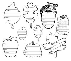 """Leaf activities: Awesome """"Getting to know you"""" fall writing prompts, with 7, fall-themed templates, including a maple, elm & oak leaf. Students complete the prompt and color each section in a pattern.  Completed projects make an awesome fall bulletin board: """"Falling Into Writing!"""""""