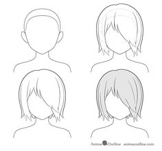How to Draw Anime and Manga Hair - Female - AnimeOutline Manga Hair, Anime Hair, Drawing Base, Manga Drawing, Art Drawings Sketches Simple, Easy Drawings, Drawing Male Hair, Body Drawing Tutorial, Arte Do Kawaii