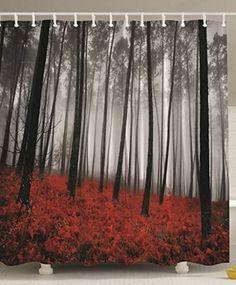 Fabric Shower Curtain Mystic Forest Red Grass Black and Gray Modern Art Flower Rainy Foggy Gray Scene Print, http://www.amazon.com/dp/B00ZSCW1IY/ref=cm_sw_r_pi_awdm_iJ.9wb1GF9ZYH