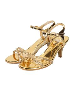 44bb24932c9b Indulge Women Ankle Strap Kitten Heel Sandal - Rhinestone Kitten Heel Party  Shoe - Wedding Bridesmaid