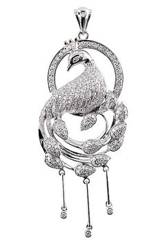 A DIAMOND PENDANT.  14K white gold. Peacock motif. Surface covered with more than 200 small 8/8 cut diamonds. Length 5,5 cm, weight 8,9 g.