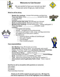 Akela's Council Cub Scout Leader Training: Parent Orientation Letter as their boys begin Cub Scouts FOR NEW PROGRAM
