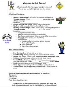Akela's Council Cub Scout Leader Training: Parent Orientation Letter as their boys begin Cub Scouts FOR NEW PROGRAM