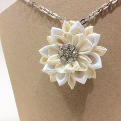 Kanzashi flower necklace
