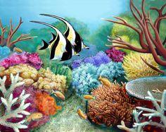 (53) Moorish Idol  at Rainbow Reef, 20x24, $950.  By Paul Jay Hill. Taveuni, Fiji. Owner: Josh and Jessica Rowe.
